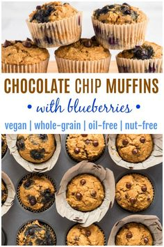 These VEGAN CHOCOLATE CHIP MUFFINS are easy to make any day of the week, sure to become a family favorite! Try the option of added blueberries too! Vegan Baking Recipes, Best Vegan Recipes, Vegan Dessert Recipes, Vegan Breakfast Recipes, Vegan Snacks, Brunch Recipes, Whole Food Recipes, Cooking Recipes, Vegan Food