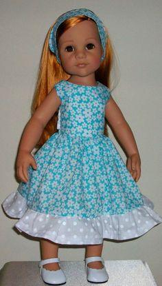 "Daisys & polka dots dress & alice band fits 18"" Dolls Designafriend/Gotz hannah"