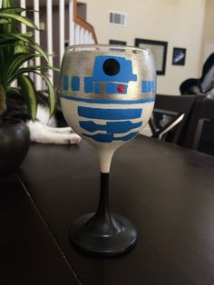 R2D2 inspired handpainted wine glass by kaylieskrafties on Etsy