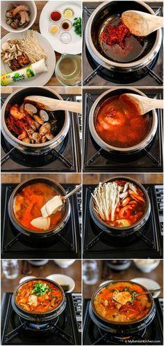 Sundubu Jjigae (Korean Spicy Soft Tofu Stew) - My Korean Kitchen Yummy Recipes, Asian Recipes, Cooking Recipes, Yummy Food, Healthy Recipes, Healthy Food, Asian Desserts, Tofu Recipes, Korean Soup Recipes