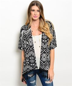 Black and Grey Tribal Printed Kimono