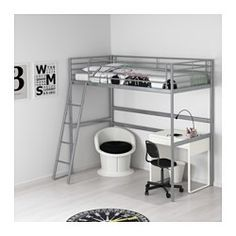 IKEA - SVÄRTA, Frame hoogslaper, , Als je de ruimte onder het bed completeert met het SVÄRTA werkblad kan deze worden gebruikt als werkplek - of als gezellig plekje om te zitten.De ladder kan aan de linker- of rechterkant van het bed worden gemonteerd.