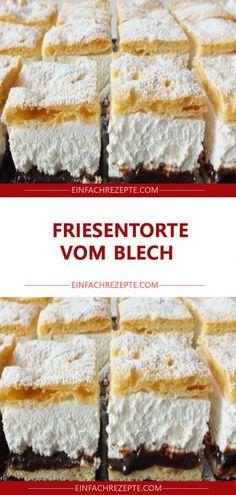 Friesentorte vom Blech - Torten , Friesentorte vom Blech Frieze cake from the tin Backen. German Bakery, Cake Recipes, Dessert Recipes, Gateaux Cake, Food Cakes, Cakes And More, Chocolate Desserts, No Bake Desserts, No Bake Cake