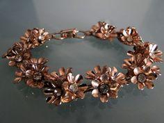Coro Flowers and Rhinestones Metal Bracelet by tintiara on Etsy, $31.00