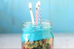 Birthday Cake in a Jar | There aren't many things in this world that are better than a great slice of birthday cake. The one thing that can top it is birthday cake in a jar.  - Foodista.com