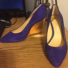 Gianni Bini blue/dark purple wedge suede In great condition, please look at the pictures as these shoes look different shades in different lighting. Gianni Bini Shoes Wedges