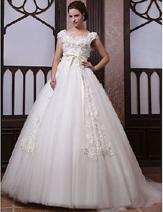 Fairy ball gown round short sleeves white tulle lace sash bowknot ruffles court train Princess Wedding Dresses PWD1017031