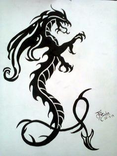 Black Dragon Tattoo Design