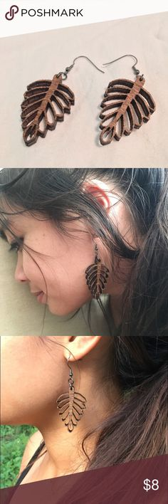 Wood Leaf Designer Earrings Made in USA. Good Quality, and very beautiful. Jewelry Earrings