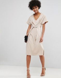 ASOS V Neck Column Midi Dress with Eyelet and Tie - Gray