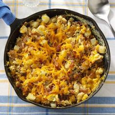 Farmers Breakfast--I have done this with frozen hash brown potatoes and kielbasa sausage...a weekend family favorite!!