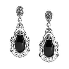 Carolyn Pollack Jewelry | Silver Rodeo Sterling Silver and Onyx Drop Earrings