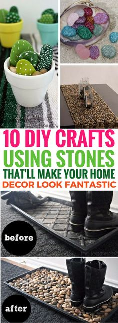 Incredibly AWESOME crafts you can do using stones and pebbles to improve your home decor. I'm so glad I found this now! So many good home decor projects to try.