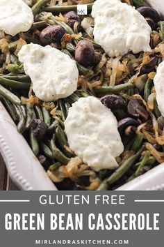 This updated version of gluten free green bean casserole is full of mushrooms, caramelized onions, and creamy cheese. Casserole Dishes, Casserole Recipes, Chicken Casserole, Gluten Free Recipes, Healthy Recipes, Delicious Recipes, Healthy Food, Vegetarian Dish, Green Bean Casserole