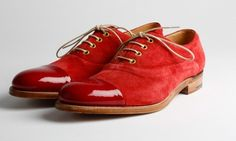 Red suede shoes by Grenson