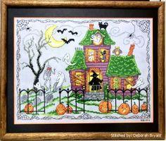 Halloween House - cross stitch pattern designed by Ursula Michael.