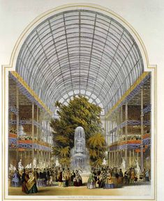 """The transept, inside Crystal Palace, Hyde Park. From """"Dickinson's comprehensive pictures of the Great Exhibition of 1851."""" England; 1854."""