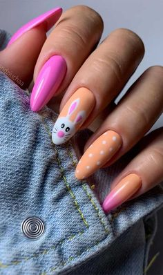 Pretty Easter Nails To Cheer Up During An Outbreak Easter Nail Designs, Easter Nail Art, Holiday Nail Designs, Pretty Nail Designs, Holiday Nails, Fingernail Designs, Acrylic Nail Designs, Nail Art Designs, Santa Nails