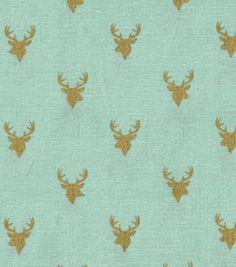 Keepsake Calico™ Cotton Fabric-Deer Heads On Mint With Gold Metallic