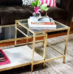 I was perusing around and came across another brilliant gold DIY furniture project just after I blogged about the IKEA Table/Desk hack just the other day. This time it's from the talented Kristen fr