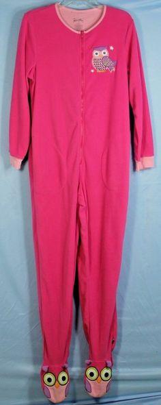 Nick and Nora Womens Size S Pink Owls Footed Pajamas 1 Piece Fleece Zip Up PJs #NickNora #PajamaSetsFooted