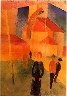 August Macke. Beflaggte Kirche, 1914