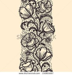 Seamless lace pattern with flowers and elements of the web - stock vector Lace Tattoo Design, Flower Tattoo Designs, Tattoo Designs For Women, Lace Design, Flower Tattoos, Sexy Tattoos, Black Tattoos, Girl Tattoos, Sleeve Tattoos
