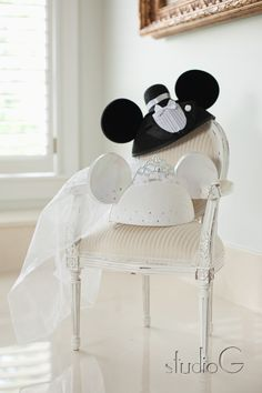 bride and groom mickey mouse ears for honeymooning in disney world...dont judge but everyone knows i would wear these
