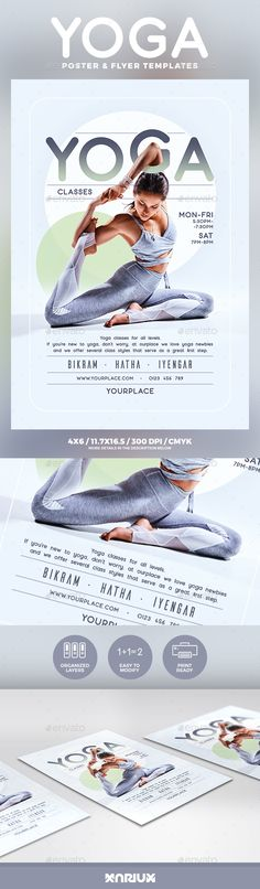 Yoga Flyer and Poster Template PSD #design