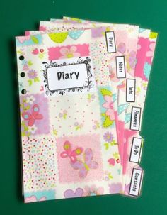 Filofax-Personal-Planner-Dividers-Pink-Patched-Flowers-with-6-labels-Laminated Planner Dividers, Organisers, Office Organization, Filofax, Planners, Patches, Flowers, Pink, Ebay