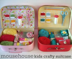 Oh, if I ever have grandchildren or if I ever decide to teach someone's child to sew or crochet. This is great ideas. A Mousehouse Kids Crafty Suitcase Tutorial and Giveaway