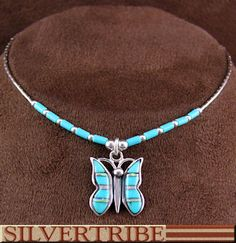 Liquid Sterling Silver Turquoise And Opal Inlay Butterfly Necklace DS55927