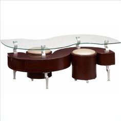 lobal Furniture USA T288 Mahogany Occasional Coffee Table with Silver  - Click image twice for more info - See a larger selection of  glass coffee tables at http://zcoffeetables.com/product-category/glass-coffee-tables/ - home, home decor, home ideas, home furniture, office furniture, table, gift ideas, living room,