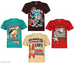 Tshirts & Polos Attractive Cotton Kids Boy's T - Shirt (Pack Of 4)  Fabric: Cotton Sleeves: Sleeves Are Included Size: (Refer Size Chart) Age Group (2 - 3 Years) Age Group (4 - 5 Years)  Age Group (6 - 7 Years)  Age Group (8 - 9 Years)  Age Group (10 - 11 Years)  Type: Stitched Description: It Has 4 Pieces Of Boy's T - Shirt Work: Printed Country of Origin: India Sizes Available: 2-3 Years, 4-5 Years, 6-7 Years, 8-9 Years, 10-11 Years   Catalog Rating: ★4.1 (276)  Catalog Name: Free Mask Classic Attractive Cotton Kids Boy's T - Shirt Combo Vol 4 CatalogID_389951 C59-SC1173 Code: 336-2870123-7071
