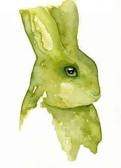 Rabbit - Watercolor painting created by the Swedish artist Emma Andersson. Shop: https://www.etsy.com/ca/shop/greenfoxart/items