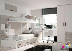 Habitación Infantil Litera Armario Recto Cajones