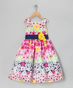 Take a look at this Navy & Pink Floral Ribbon Dress - Girls by Jayne Copeland on #zulily today!