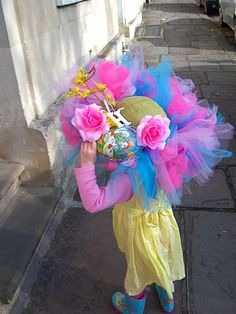 all ready for the Easter Bonnet parade! Crazy Hat Day, Crazy Hats, Easter Hat Parade, Funky Hats, Easter Traditions, Egg Decorating, Easter Crafts, Easter Ideas, Easter Bonnets
