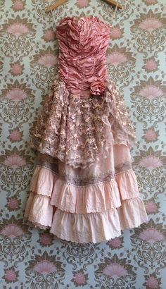 vintage pink taupe pale pink satin lace & by mermaidmisskristin, $250.00