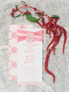 Beautiful pink invitations: http://www.stylemepretty.com/2014/10/13/inspired-by-color-blood-orange/ | Photography: Katie Stoops - http://katiestoops.com/