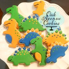Gourmet dinosaur sugar cookies with royal icing by Oak Avenue Cookies www.oakavenuecookies.com