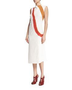 W0B8N Narciso Rodriguez Sleeveless Draped Diagonal-Stripe Dress, White