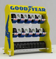 Good Year_Tyre Display Stand - 2 by Retail-Concept on DeviantArt Retail Fixtures, Store Fixtures, Tire Rack, Mechanic Shop, Tyre Shop, Retail Concepts, Showroom Design, Parking Design, Garage Design