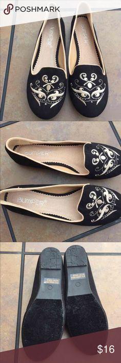 Black embellished slipper flats Never worn black flats with gold details Bumper Shoes Flats & Loafers