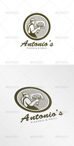 Antonios Pizzeria Logo. Logo showing illustration of a baker pizza maker holding a peel with pizza pie into a brick oven viewed fr