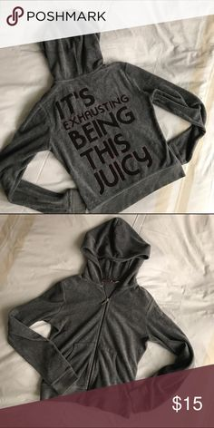 Exhausting Being This Juicy Velor Track Jacket Authentic Juicy Couture velour was gray track jacket with hood.  Kangaroo pockets in the front.  Sparkle detail around logo in the back. In excellent condition. Silver zip charm. Juicy Couture Jackets & Coats