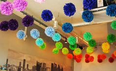 Rainbow paper pom poms Rainbow Paper, Paper Pom Poms, Crochet Necklace, Paper Poms