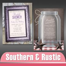 Southern Country and Rustic Bridal Shower Invitations