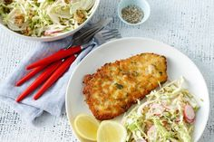 These crunchy gluten-free pork schnitzels are served with a sweet, tangy apple and fennel slaw.