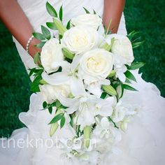 Bridal bouquet with white roses and other white flowers. Use less green, smaller, but similar shape